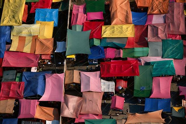 Marché près du quartier de Xochimilco, Mexico, Mexique