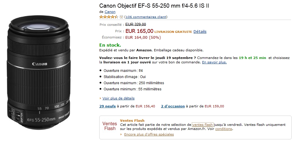 Vente flash Amazon avec -50% sur l'objectif Canon EF-S 55-250mm f/4-5.6 IS II