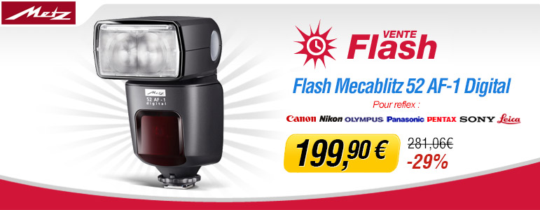 Vente flash Miss Numérique avec -29% sur le flash Metz Mecablitz 52 AF-1 pour toutes montures