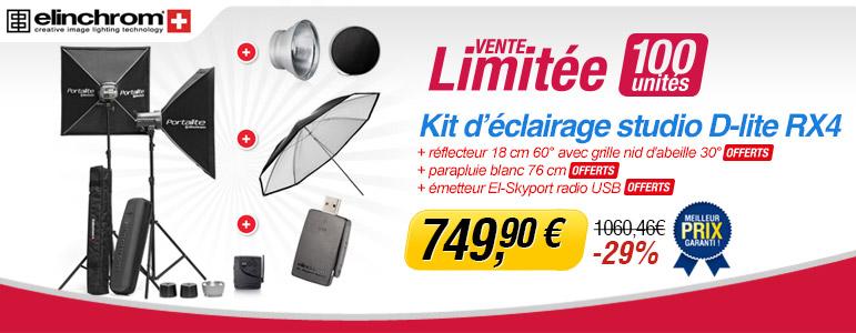 Vente limitée Miss Numérique avec -29% sur le kit d'éclairage studio Elinchrom D-Lite RX 4