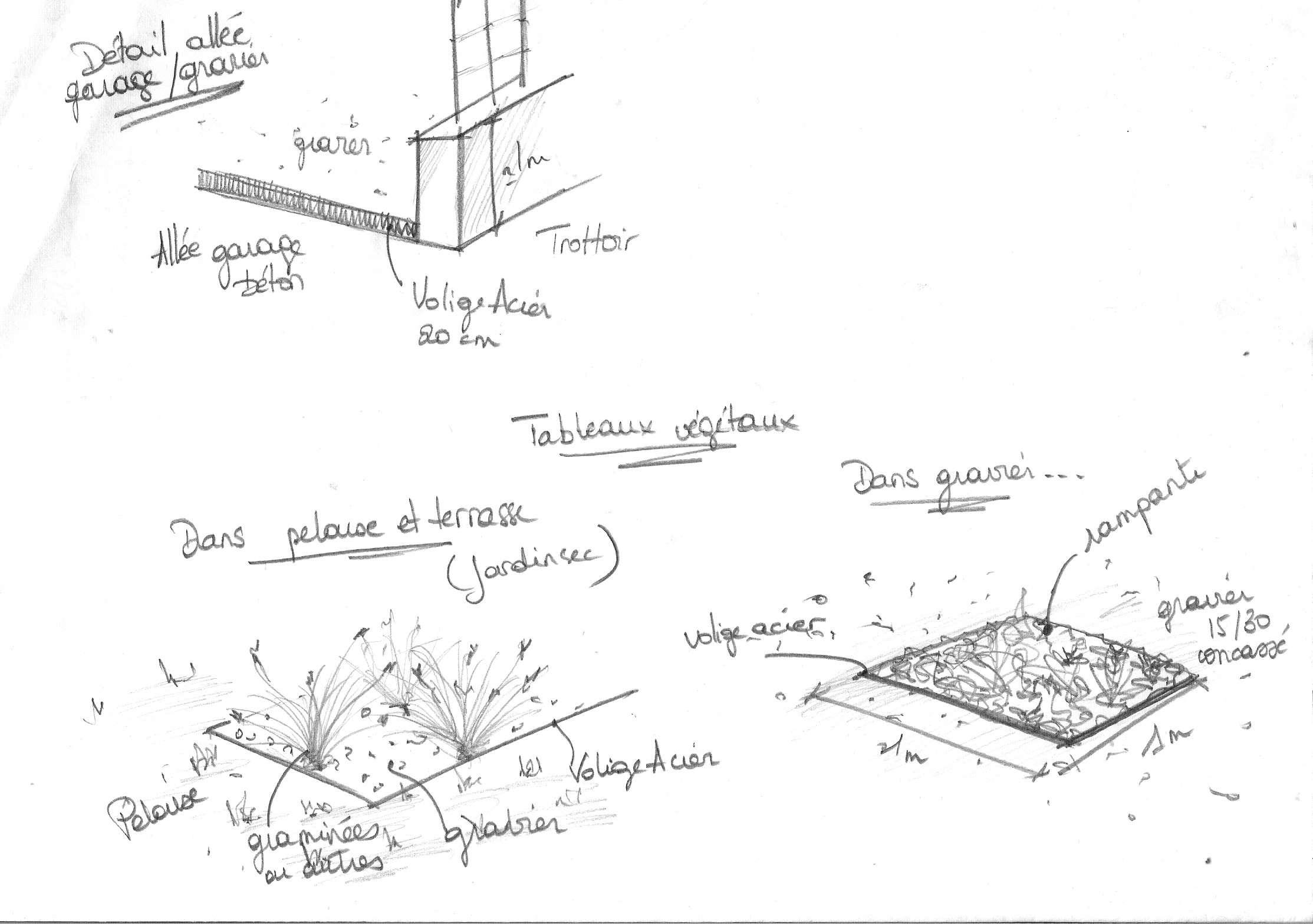 Croquis explicatifs jardin de particulier p rigueux for Croquis jardin