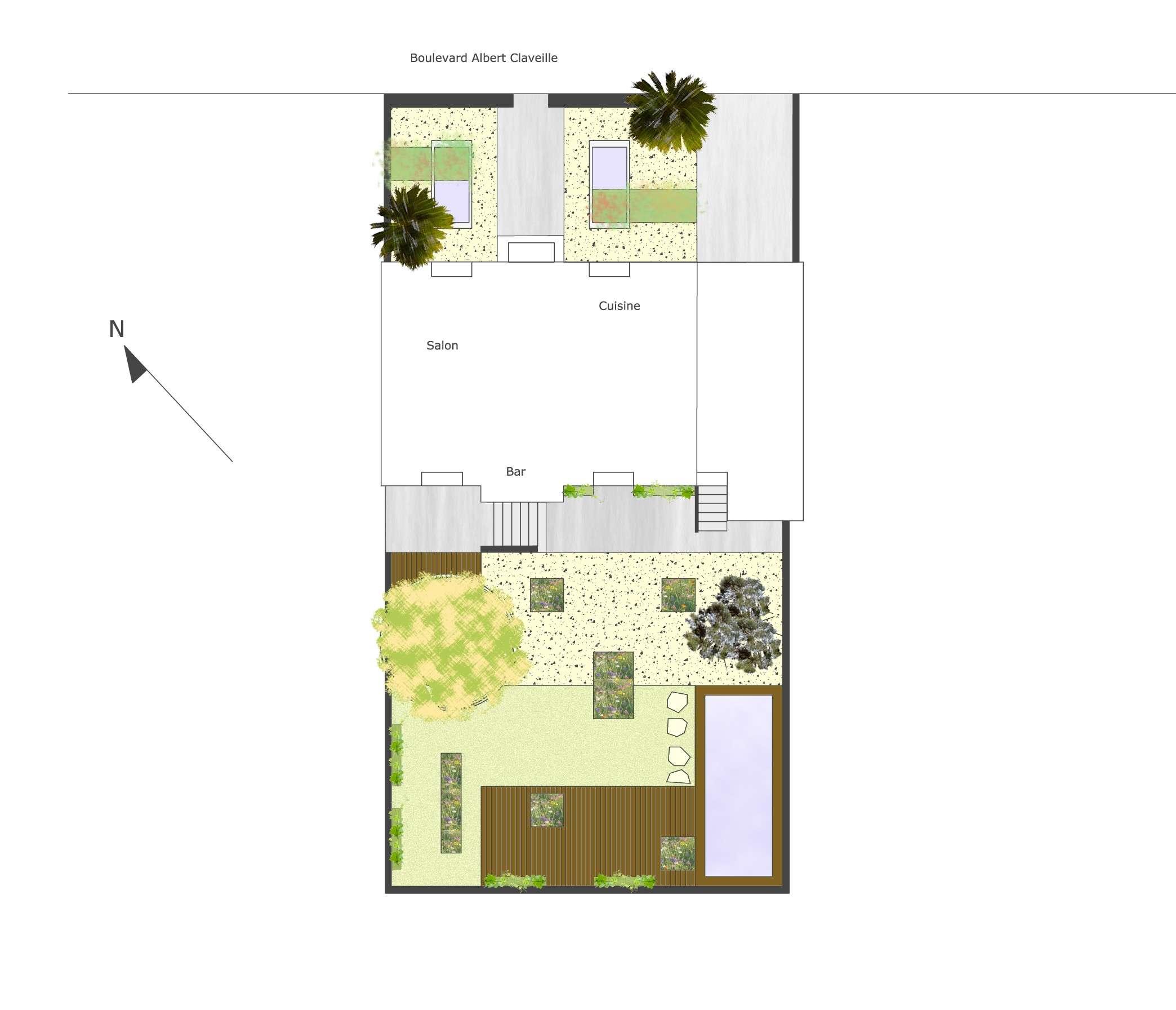 Plan masse jardin de particulier p rigueux book de for Jardin 150m2