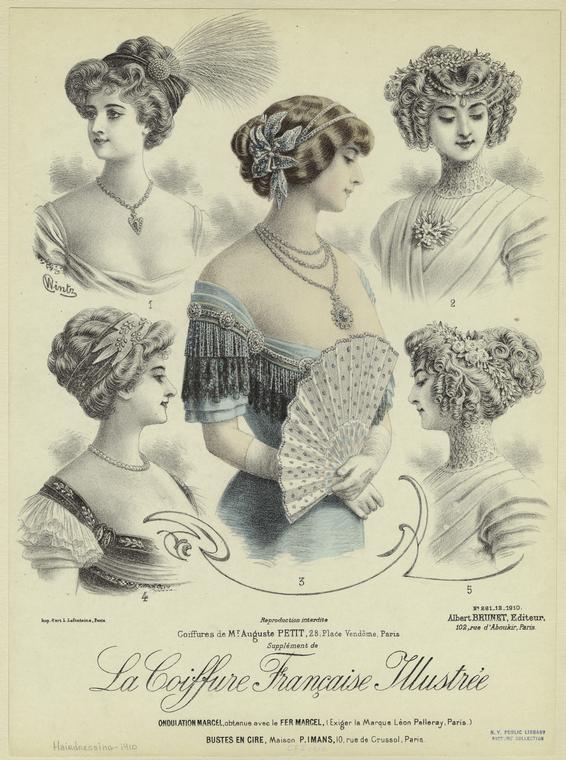 Il y avait une grande variété de coiffures pour la 3ème période de la Belle  Epoque