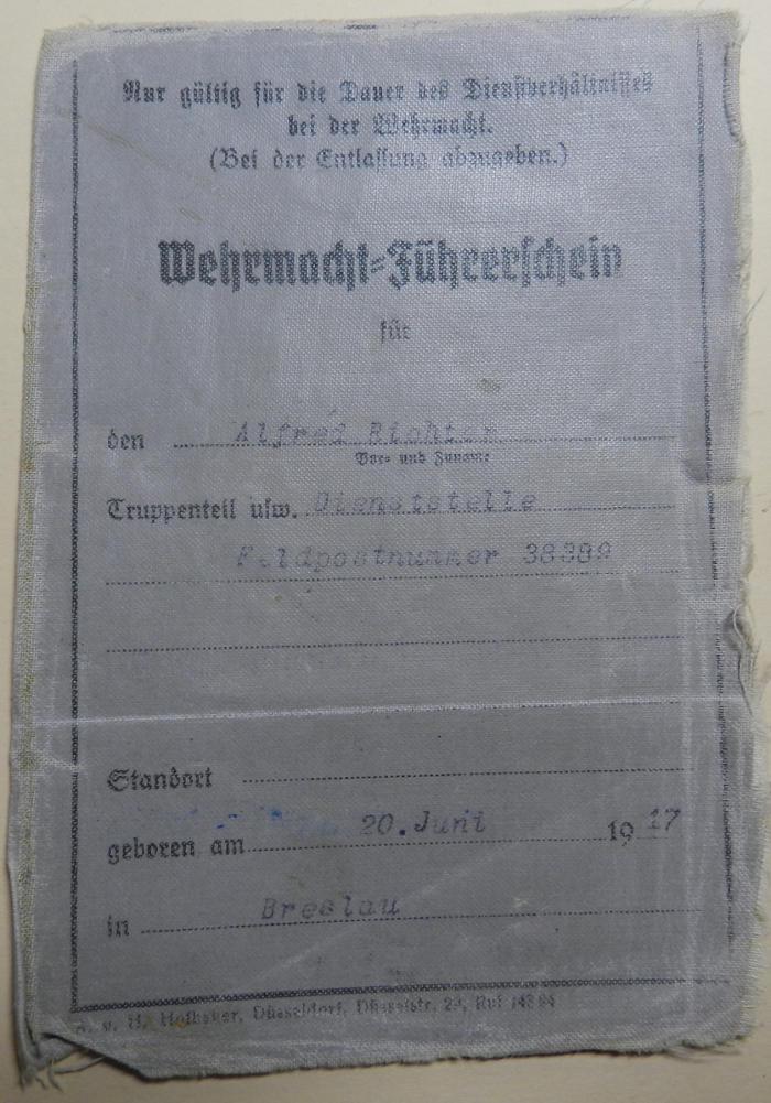 le permis conduire dans la wehrmacht