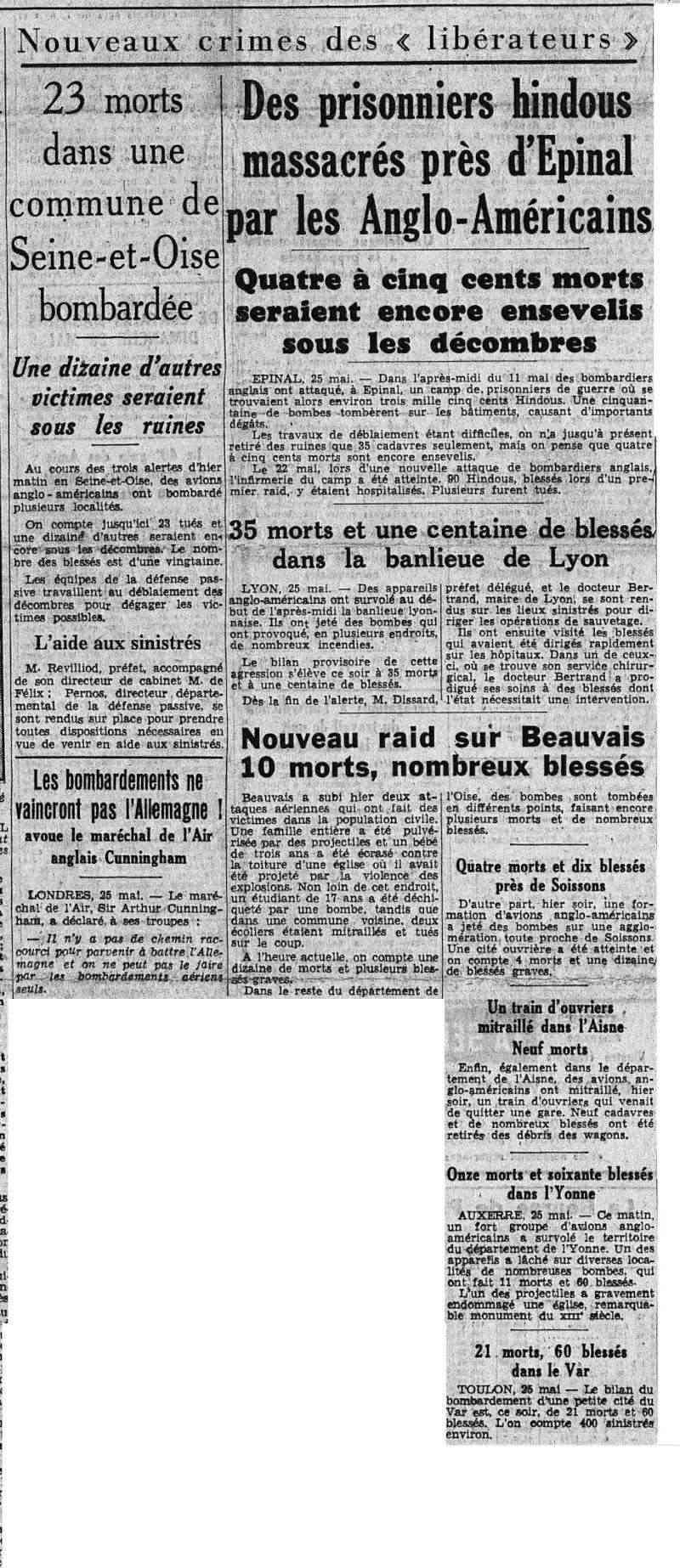 26 mai  Bombardements alliés sur le Sud-Est et le Centre-Est de la France bombar11
