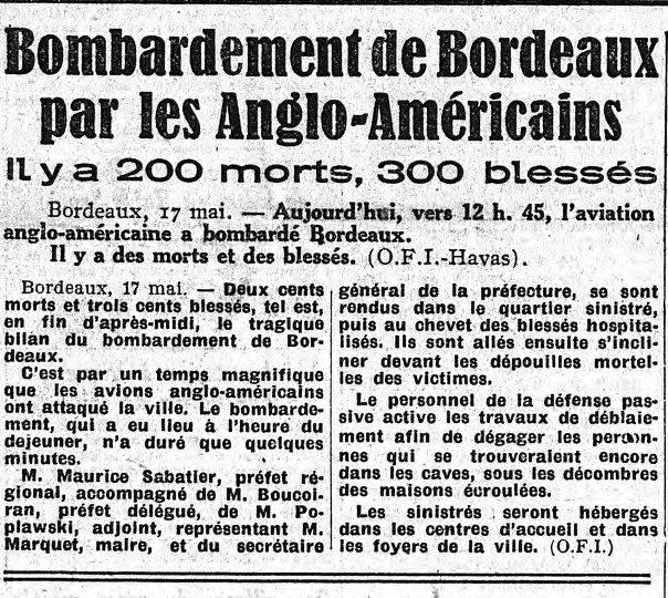 Bombardement de bordeaux par les anglo am ricains milguerres - Le journal de bordeaux ...