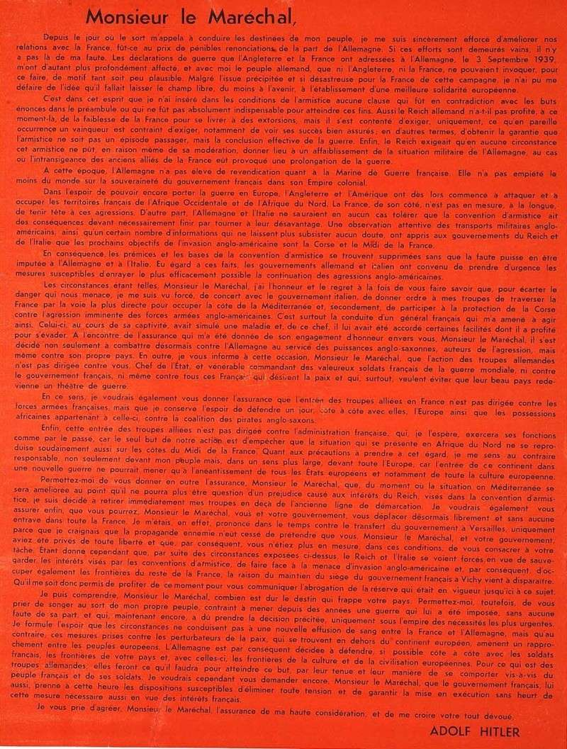 Lettre d'Adolf Hitler à Philippe Pétain hitler10