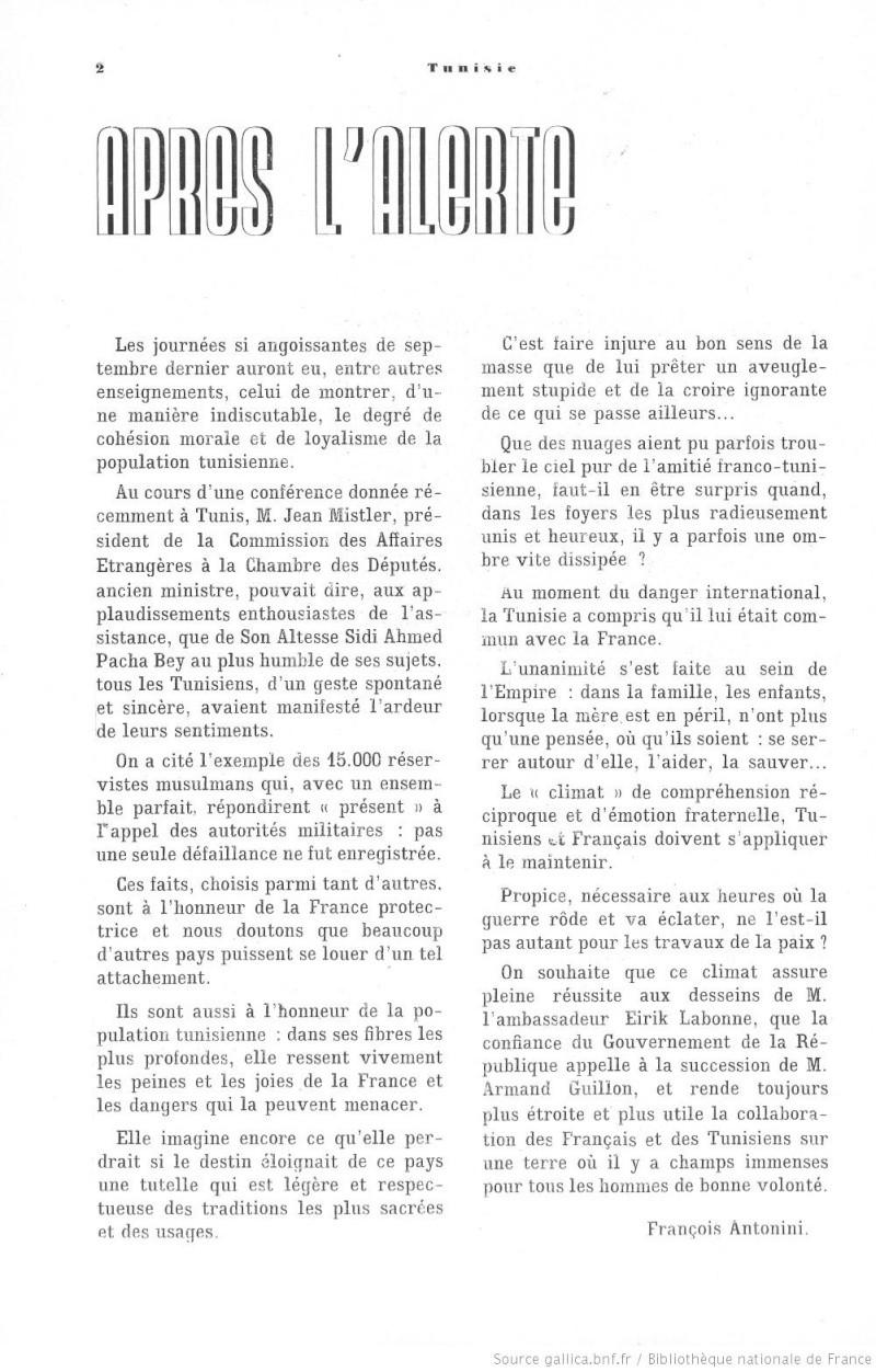 Les relations franco-tunisiennes menacées en 1938 n0166310