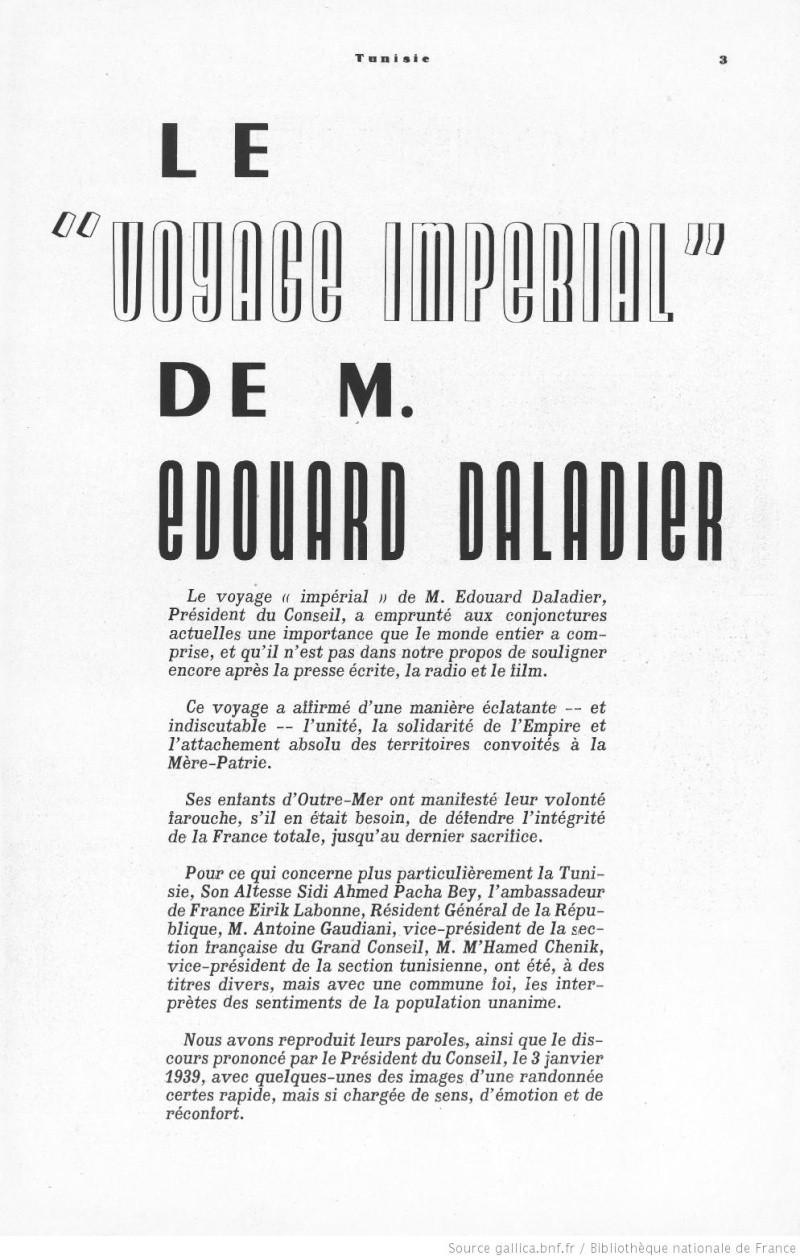 Le voyage impérial de M. DALADIER 1939/01  n0166314
