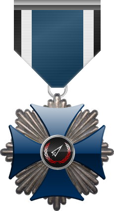 Silver level of the Blue Cross of the Silver Arrows - This award is given to a member who participated in a number of assignments in friendly territory. Silver level is the second of six.